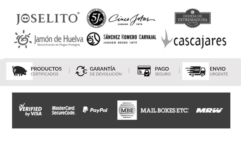 Compra productos certificados con garantía de devolución, pago seguro y envíos urgentes en Jamonería José Luis Romero